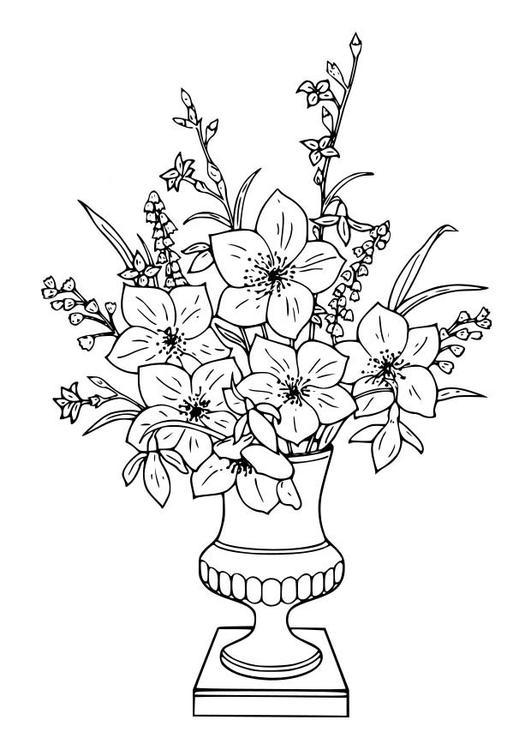 Coloriage Fleur Pot.Fleurs En Pot Dessin